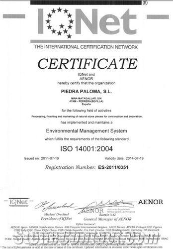Certificate IQNet 14001
