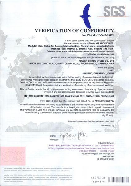 G603 SGS VERIFICATION OF CONFORMITY