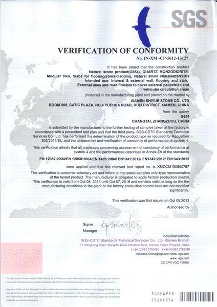 G654 SGS VERIFICATION OF CONFORMITY