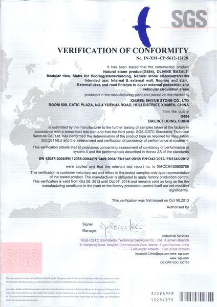 G684 SGS VERIFICATION OF CONFORMITY