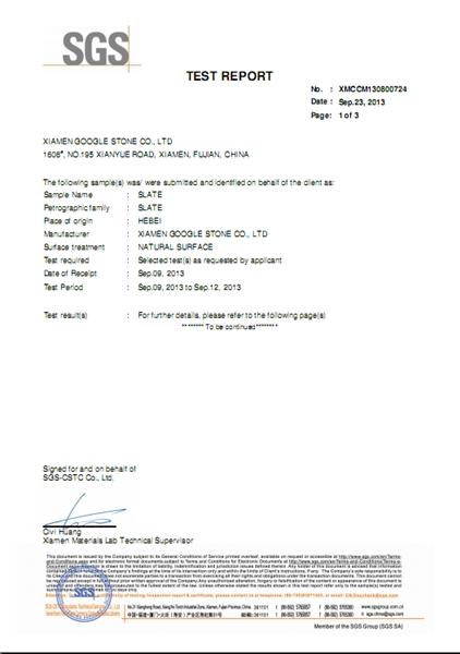 CE SGS Hebei Slate Test Report