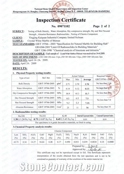 white marble test report