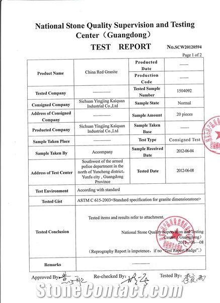 red granite test report