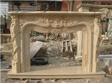 Cheaper Beige Marble Stone Fireplace Mantel