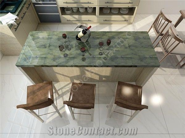 Pea Green Marble Kitchen Countertops Island Top