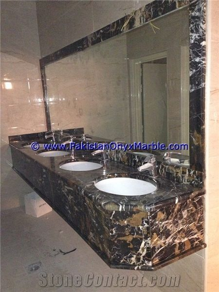 Black Gold Marble Commercial Bath Tops For Sinks And