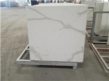 Square Calacatta White Quartz Stone Cafe Table Top
