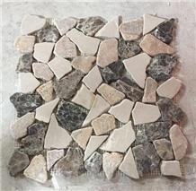 Irregular Crazy Shape Marble Mosaic Tumble Emperador