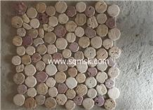 Multicolor Travertine Round Pebble Stone Mosaic