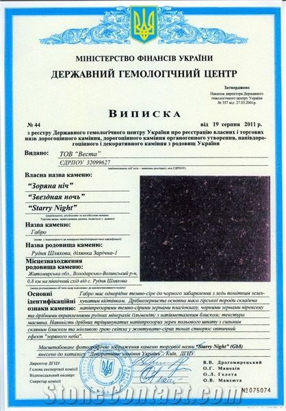 National Gemological Certificate