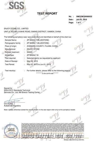 ZP BASALT(BLUESTONE) SGS TEST REPORT