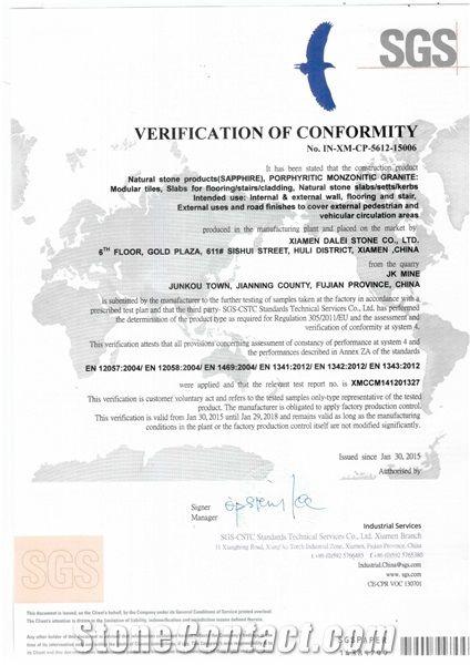 Blue Sapphire Granite CE Certificate