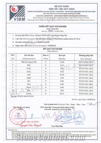 CHEMICAL TEST REPORT - White Marble Stone An Phu