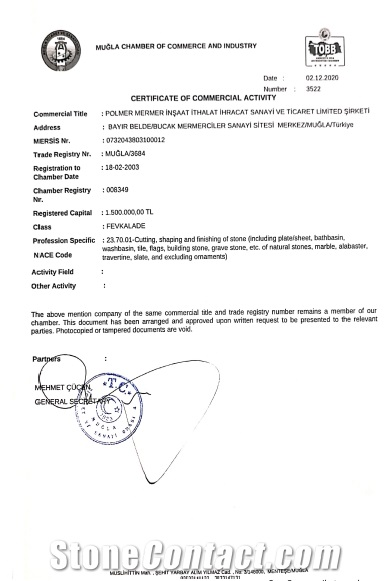 Certificate of Commercial Activity