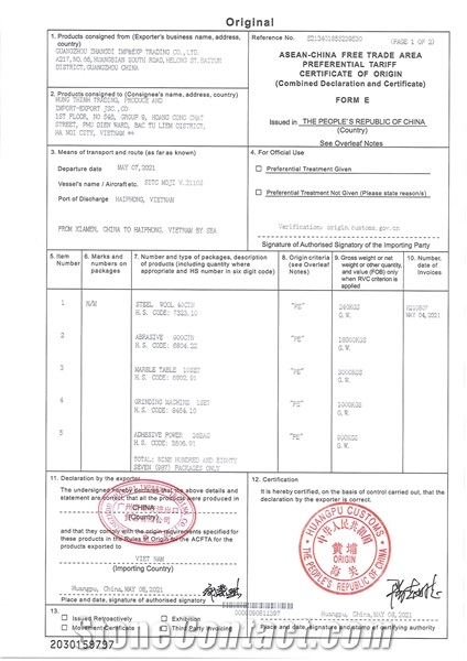 Orignial Certification