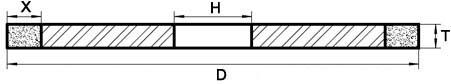 Drawing of 1A1 Diamond Bruting wheel