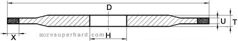 Drawing of 14A1 Diamond Bruting wheel