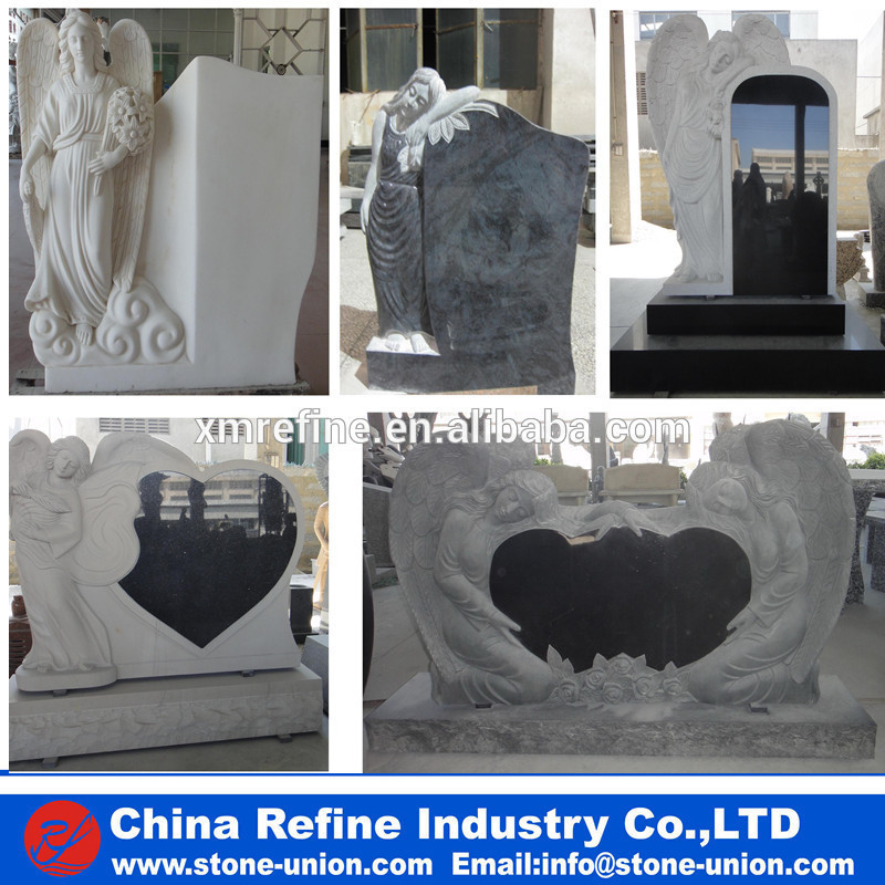 Double Baby angel headstone with wing carving &granite baby monument
