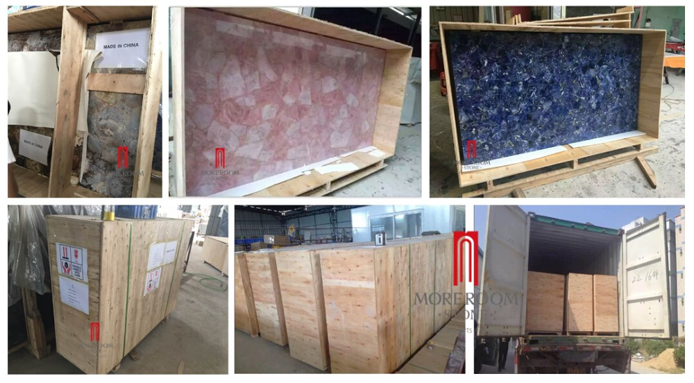 Onyx Packing Details -- Foshan Stone Manufacture Peru Onyx White Orange Thin Translucent Onyx Wall Panel With PVC Backing