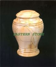 Cremation URN, Ash URN, Pet URN & Funeral Items, Teak Wood Yellow Marble Cremation Urn