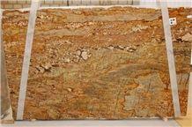 Golden Crystal Granite Slabs & Tiles, Brazil Yellow Granite