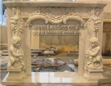 White Marble Sculptured Fireplace Mantel