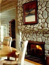 River Rock Fireplace, White Quartzite Fireplace