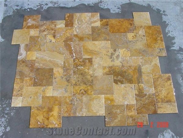 Antique Gold Travertine Versailles Pattern From Turkey