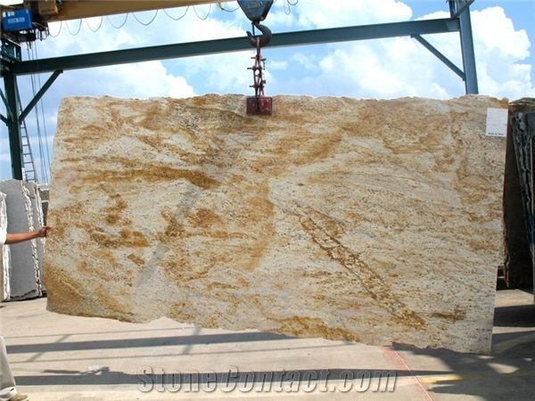 Colonial Gold Granite Slabs India Yellow Granite From