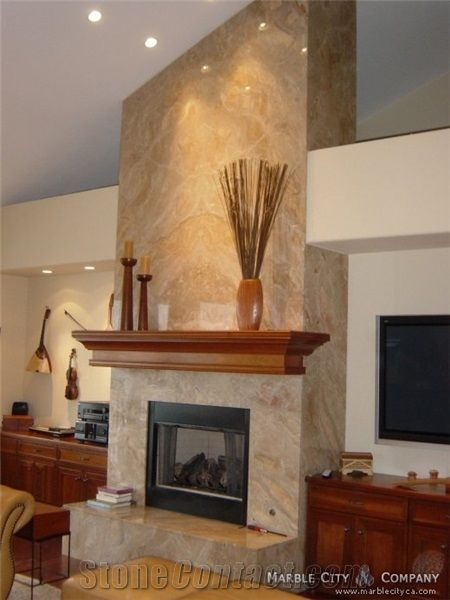 Beige Marble Fireplace Surround Installation From United