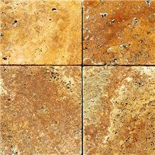 Tumbled Yellow Travertine Slabs & Tiles, Turkey Yellow Travertine