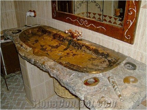 Fossil Stone Washbasin Top Fossil Brown Limestone From