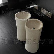 New Crema Marfil Bathroom Pedestal Sink