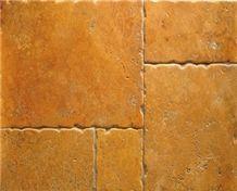 Giallo Travertine Antiqued Floor Tile, Turkey Yellow Travertine