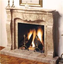 Travertino Striato Beige Travertine Fireplace