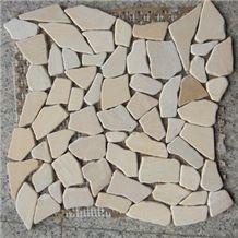 Perlatto Beige Marble Mosaic Floor in Crazy Paving Pattern