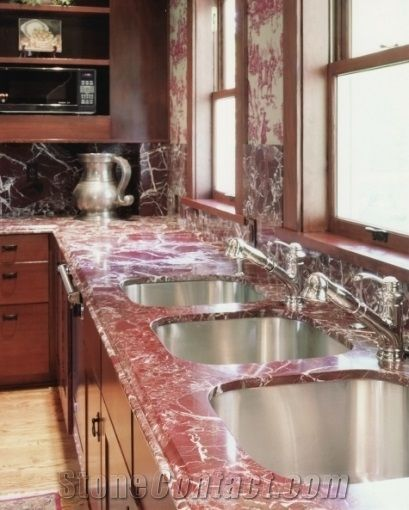 Charmant Rosso Levanto Marble Countertops, Red Marble Countertops