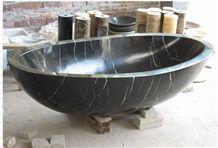 Black Marquina Marble Bathtub