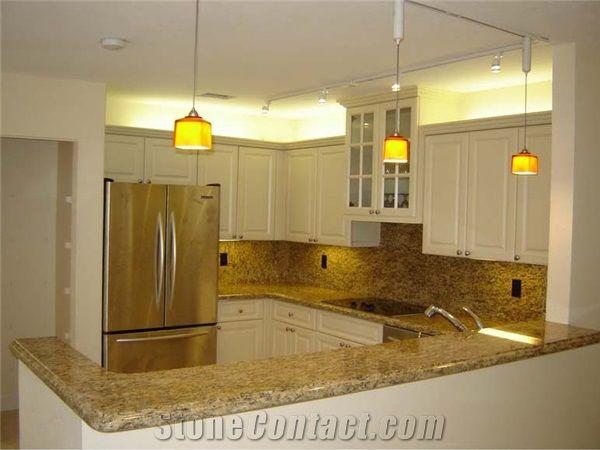 Golden Granite Kitchen Top Giallo Santa Cecilia Yellow