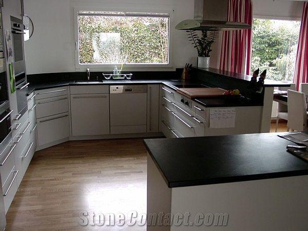 Absolute Black Kitchen Top Island From Switzerland