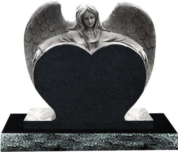 China Impala Black Granite Angel Gravestone Heart