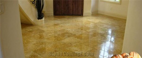 Gold Travertine Floor Tiles Pattern From Canada Stonecontact Com
