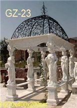 White Marble Sculptured Gazebo