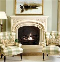 Lily Marie Mantel, Scagliola Beige Limestone Fireplace Mantel