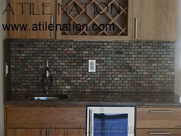 Granite Bar Top with Slate Tile Backsplash - Slate Backsplash, Slate Backsplash Products, Slate Backsplash