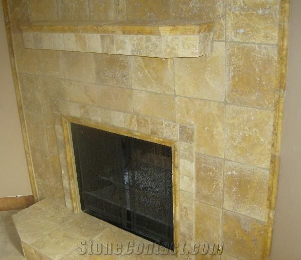 Beige Travertine Fireplace From United States 173