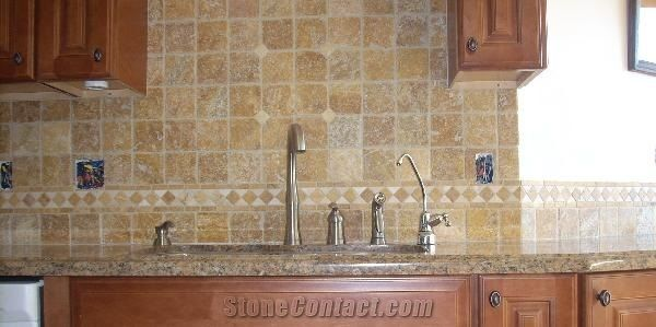 Gold Travertine Backsplash From United States