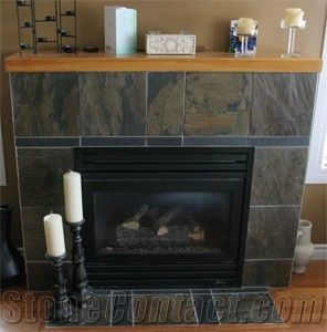 Green Slate Tile Fireplace From Canada Stonecontact Com