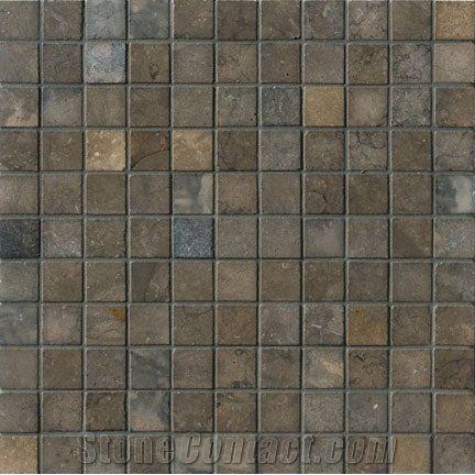 Nova Blue Limestone 1x1 Mosaic From United States