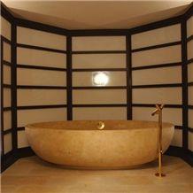 Giallo Dorato Limestone Bathtub, Beige Limestone Bathtub, Bath Tubs